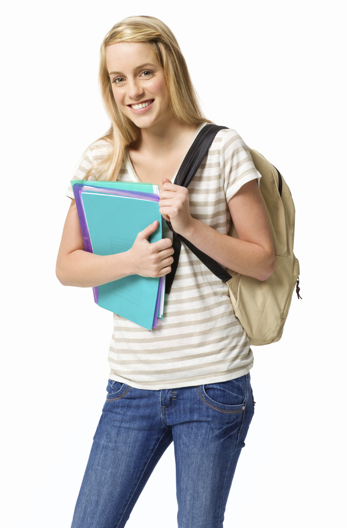 Blond female high school student poses with a backpack and school supplies. Vertical shot. Isolated on white.